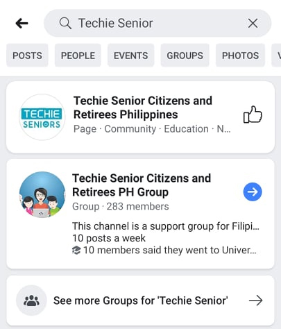 Join Techie Seniors and Retirees PH Facebook Group tutorial image 01