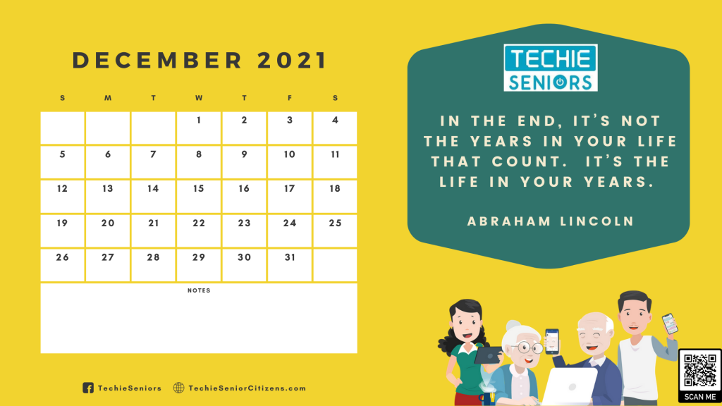techie seniors December 2021 calendar