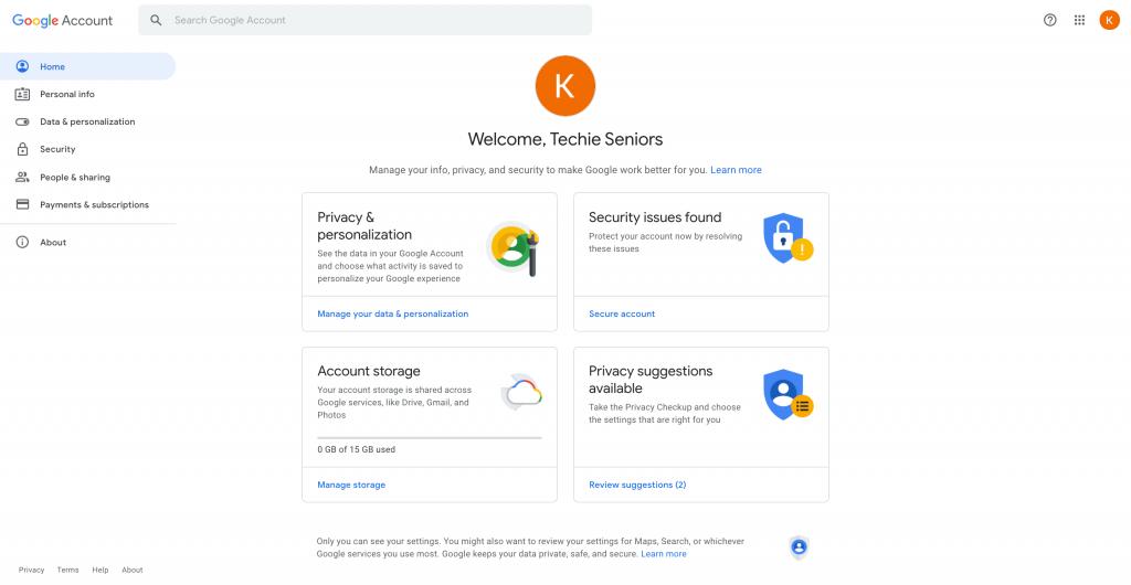 Google Account Dashboard